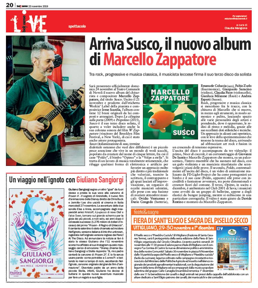 Susco il nuovo album di Marcello Zappatore su BELPAESE